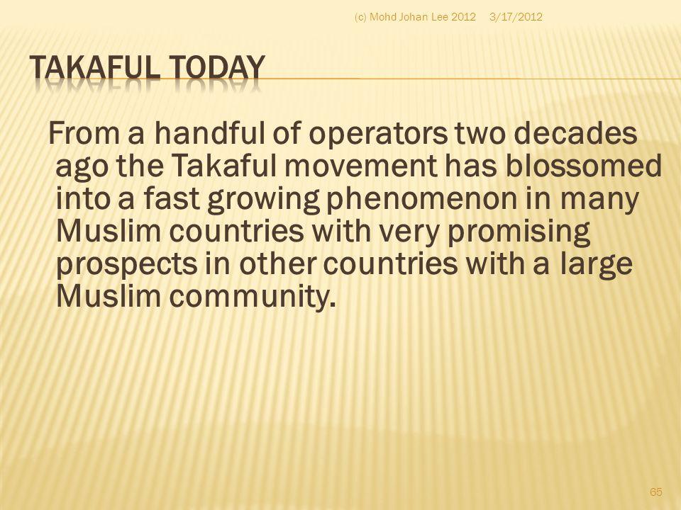 (c) Mohd Johan Lee 2012 3/17/2012. Takaful Today.