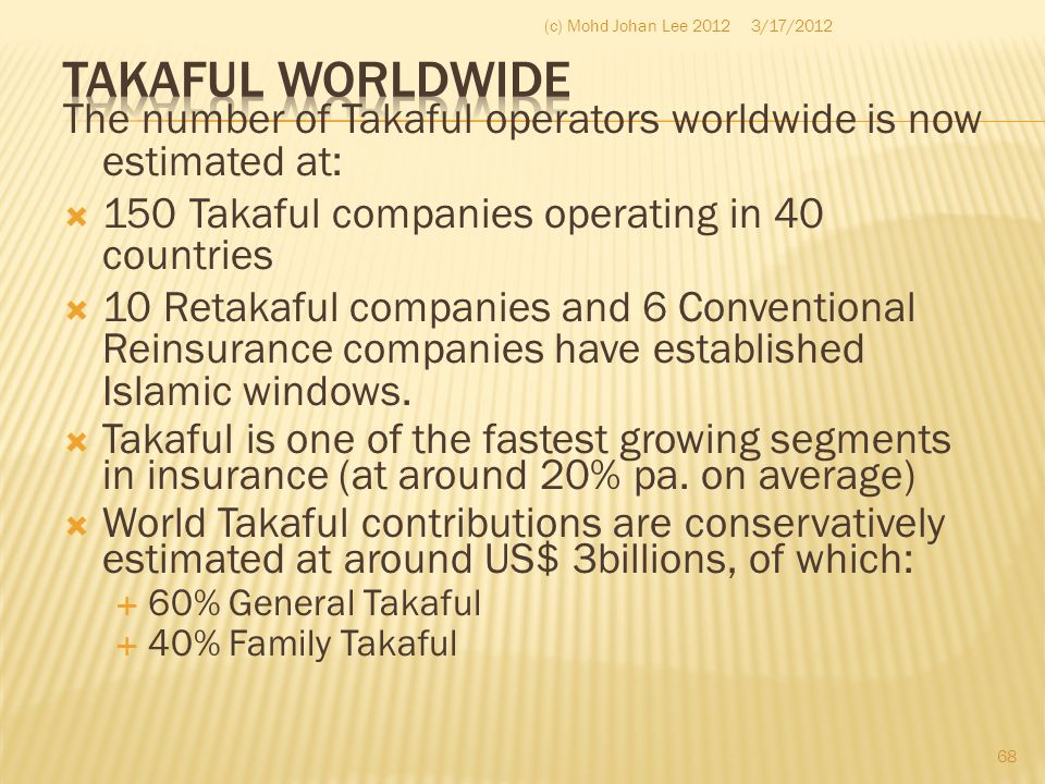 (c) Mohd Johan Lee 2012 3/17/2012. Takaful Worldwide. The number of Takaful operators worldwide is now estimated at: