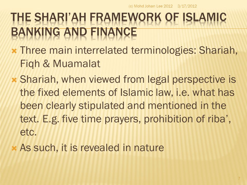 The Shari'ah Framework of Islamic Banking and Finance