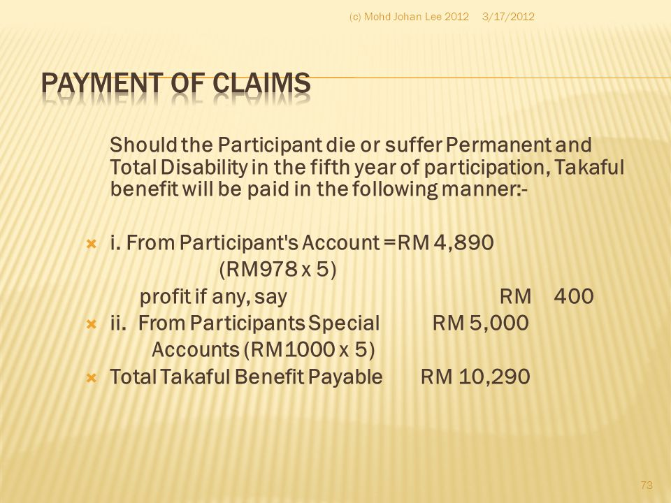 (c) Mohd Johan Lee 2012 3/17/2012. Payment of claims.
