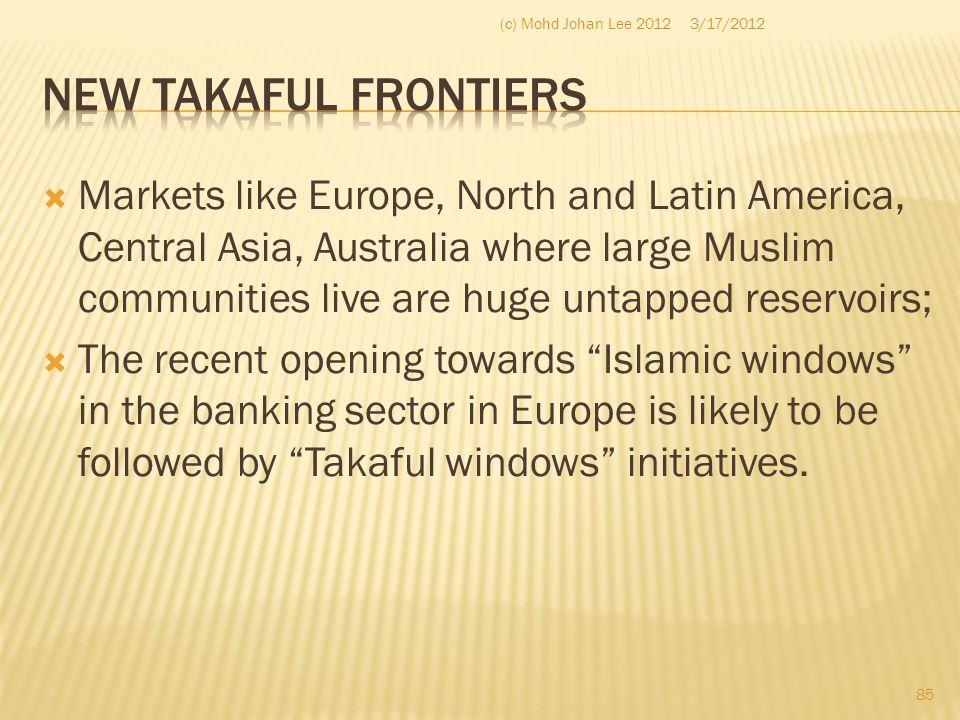 (c) Mohd Johan Lee 2012 3/17/2012. New Takaful Frontiers.