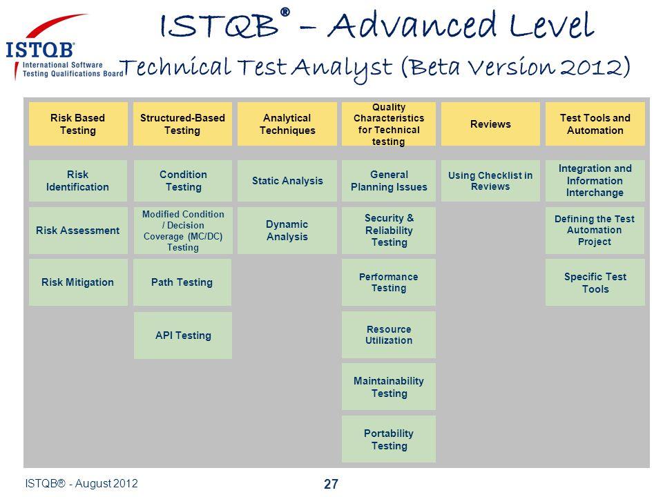 ISTQB® – Advanced Level Technical Test Analyst (Beta Version 2012)