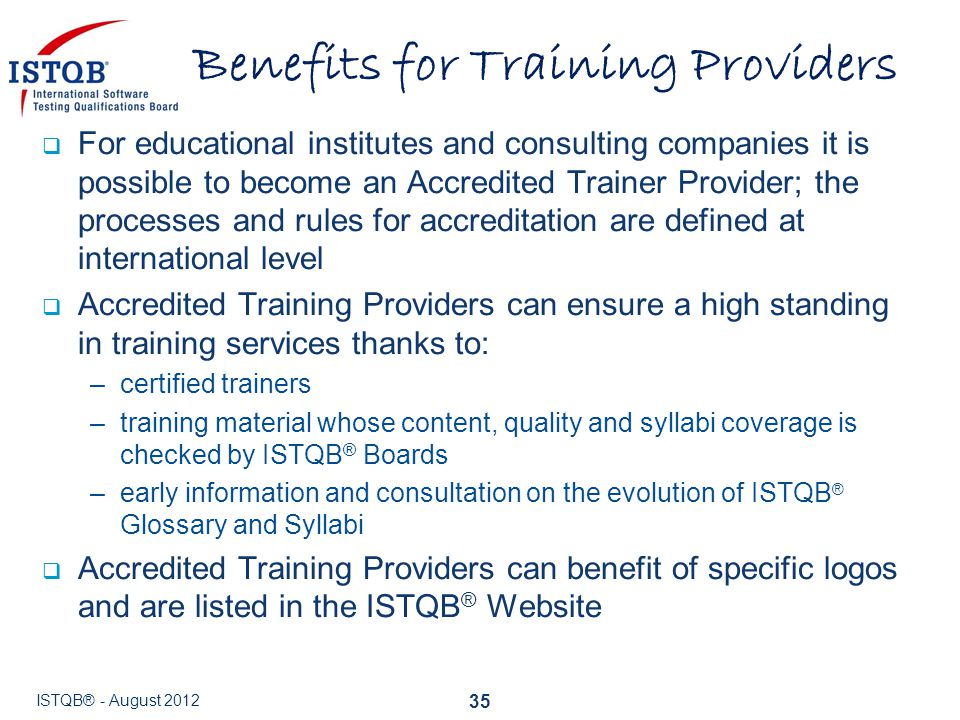 Benefits for Training Providers