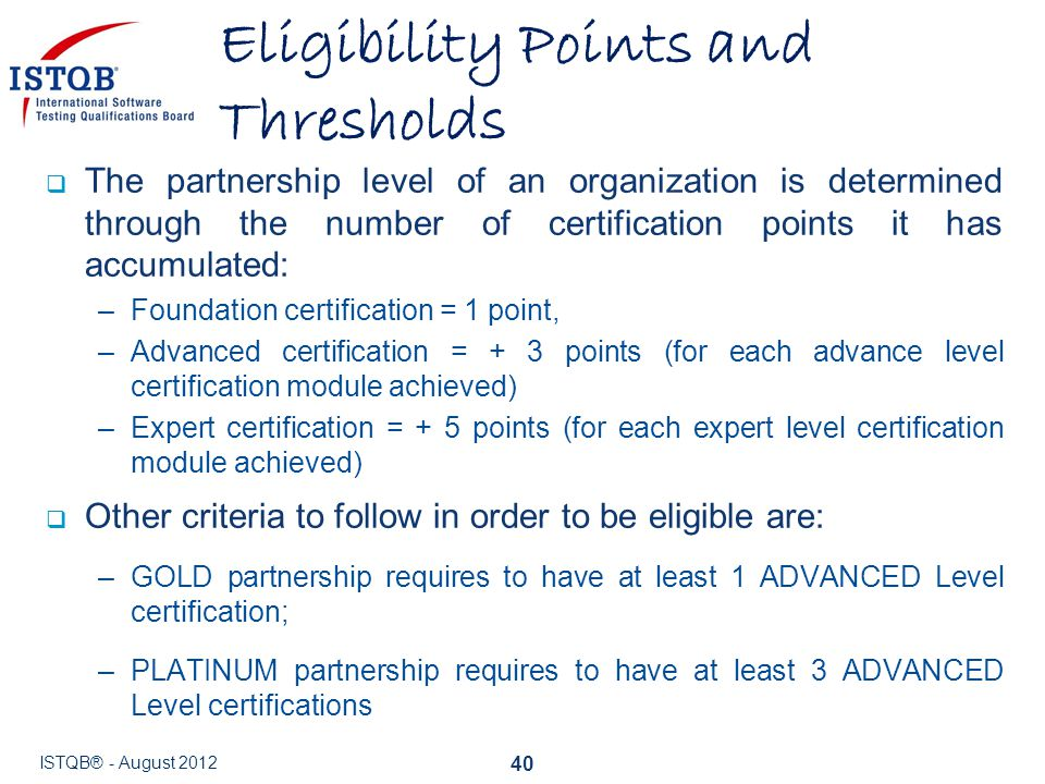 Eligibility Points and Thresholds