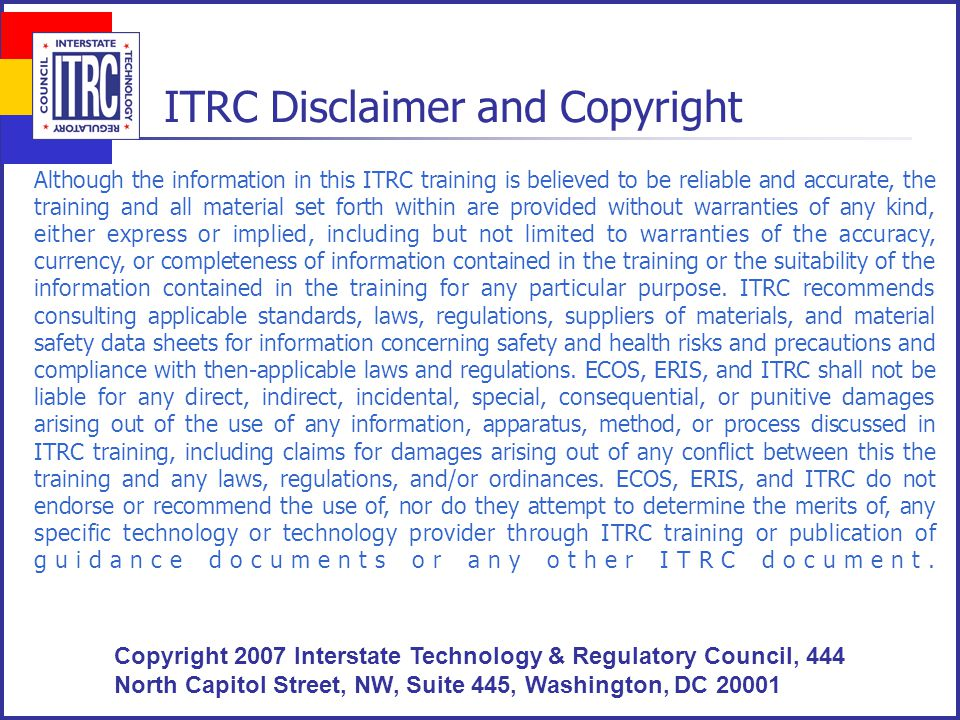 ITRC – Course Topics Planned for 2005