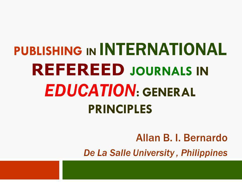 Allan B. I. Bernardo De La Salle University , Philippines