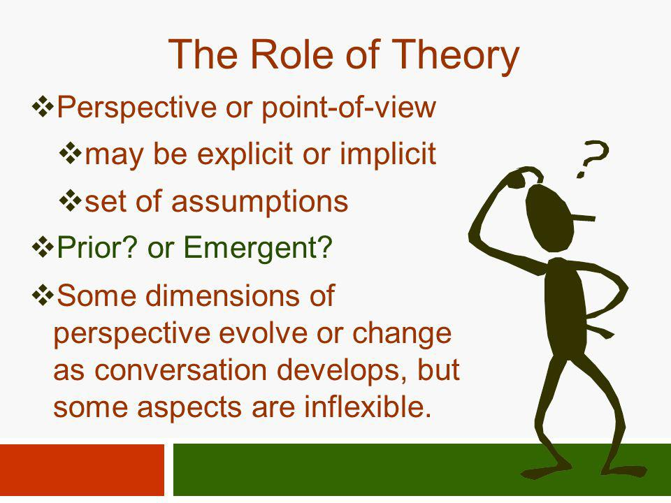 The Role of Theory may be explicit or implicit set of assumptions