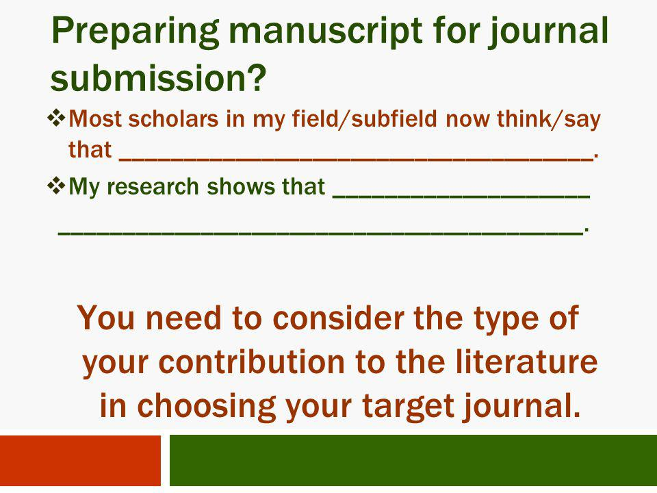 Preparing manuscript for journal submission