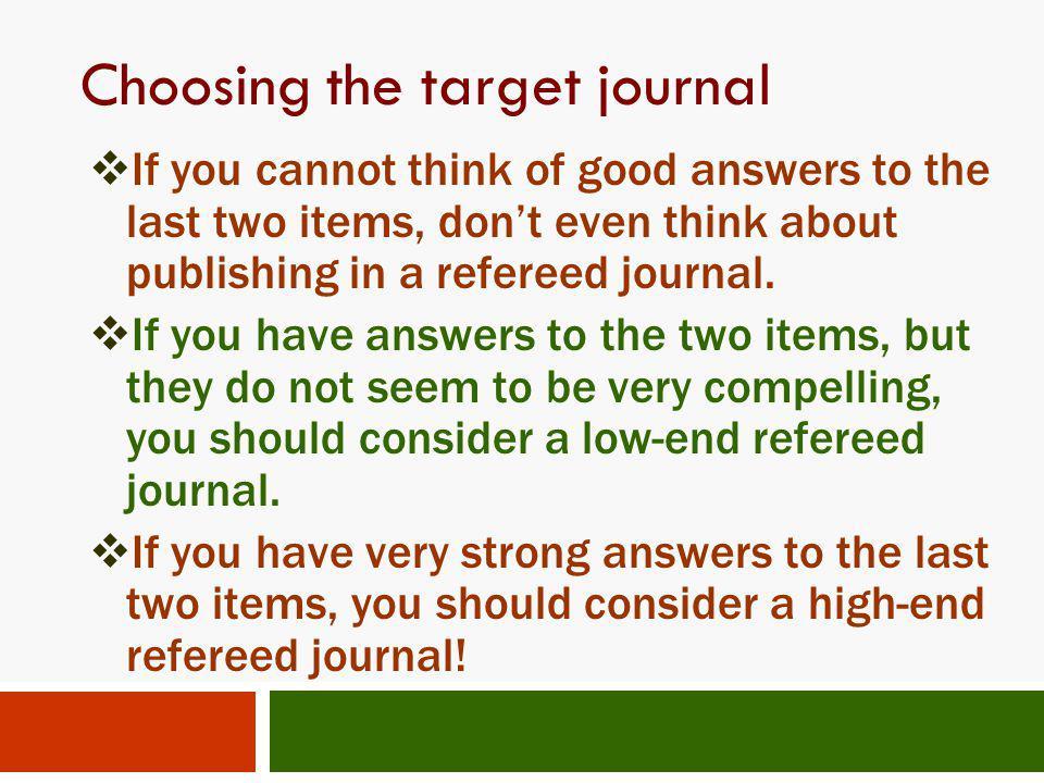 Choosing the target journal