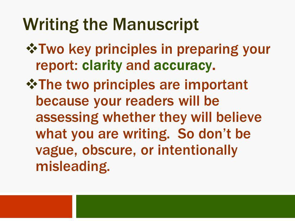Writing the Manuscript