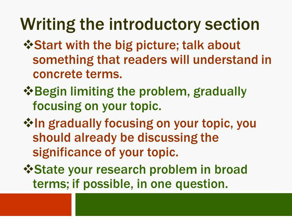 Writing the introductory section