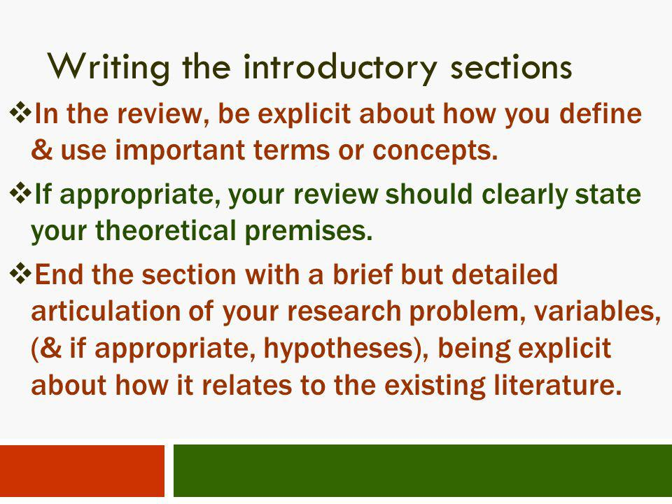 Writing the introductory sections