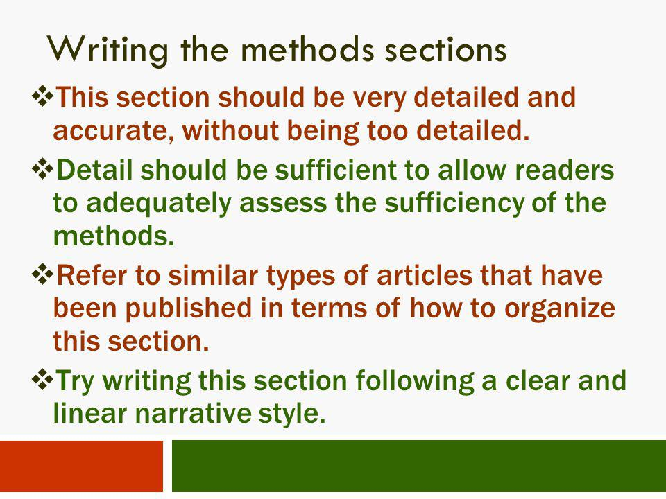 Writing the methods sections