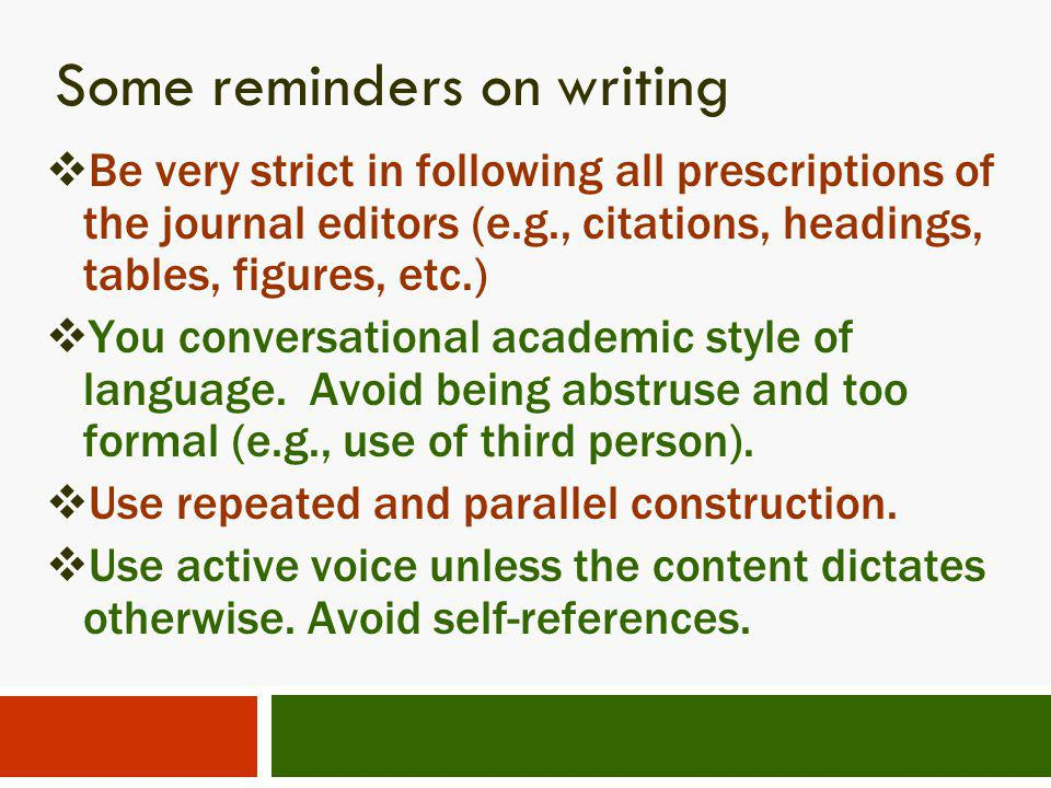 Some reminders on writing