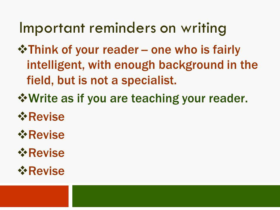Important reminders on writing