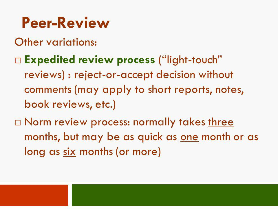 Peer-Review Other variations:
