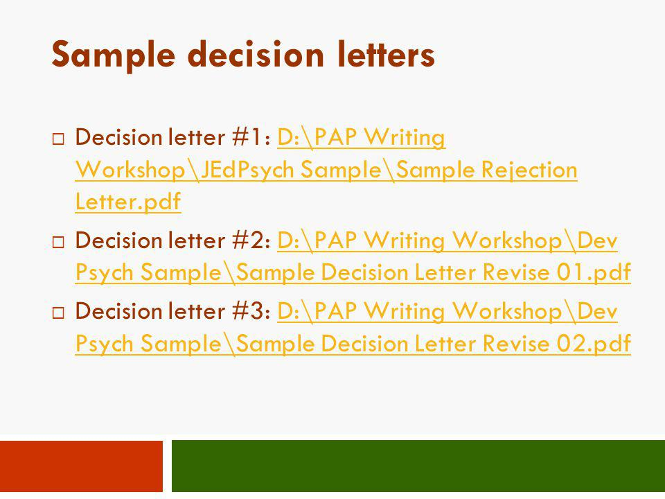 Sample decision letters