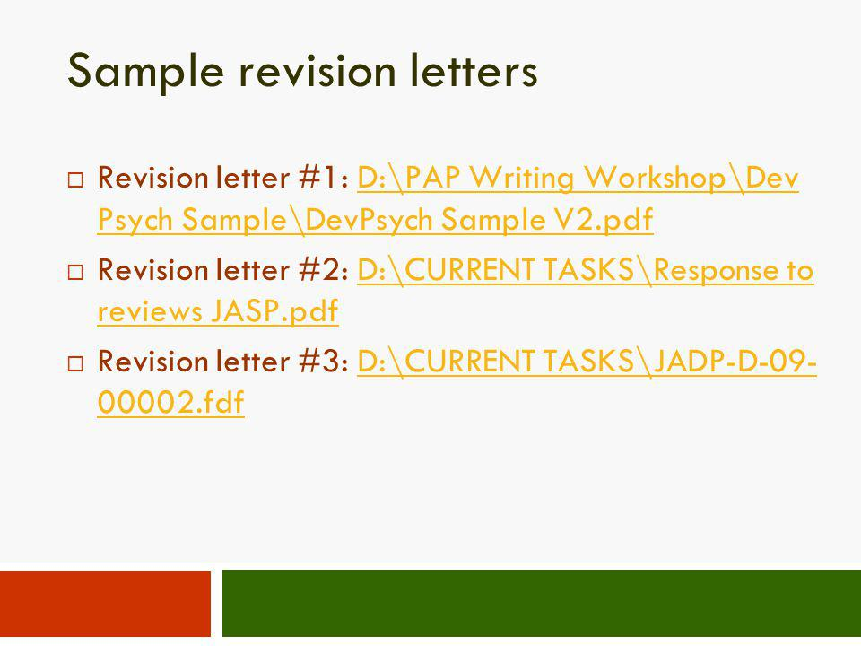 Sample revision letters