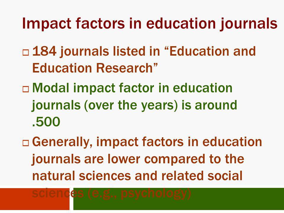 Impact factors in education journals