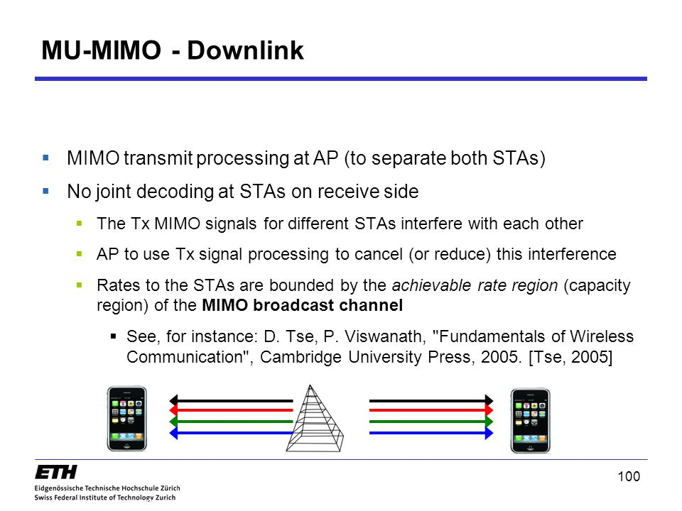 MU-MIMO - Downlink MIMO transmit processing at AP (to separate both STAs) No joint decoding at STAs on receive side.
