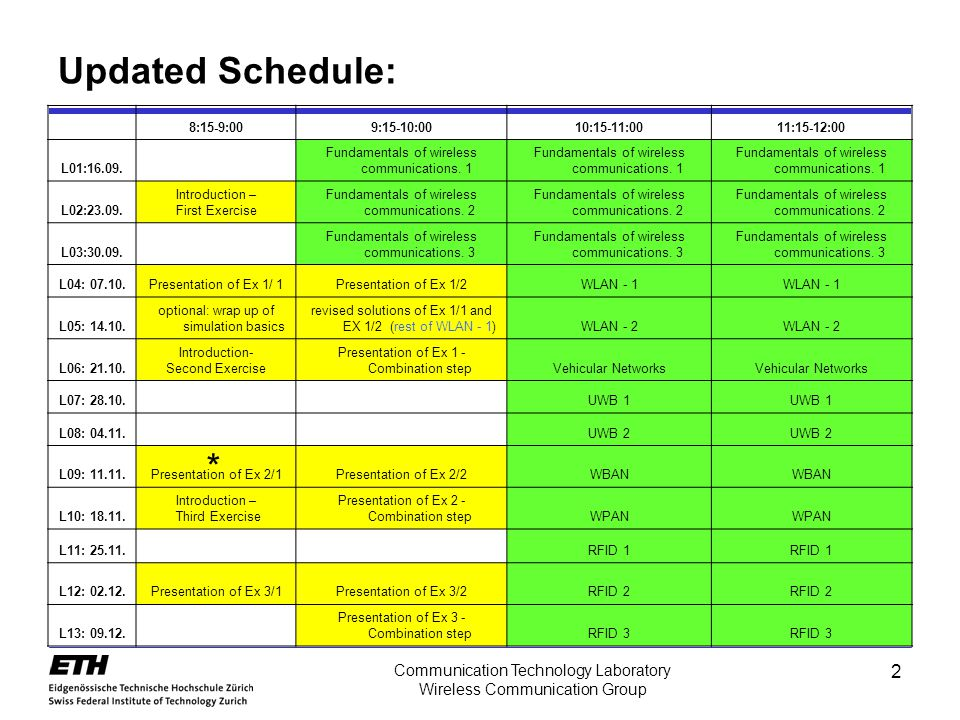 Updated Schedule: * Communication Technology Laboratory