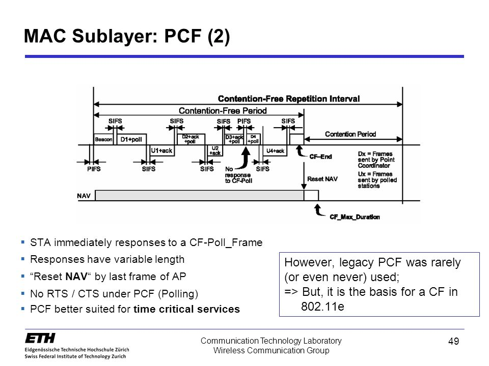 MAC Sublayer: PCF (2) STA immediately responses to a CF-Poll_Frame. Responses have variable length.