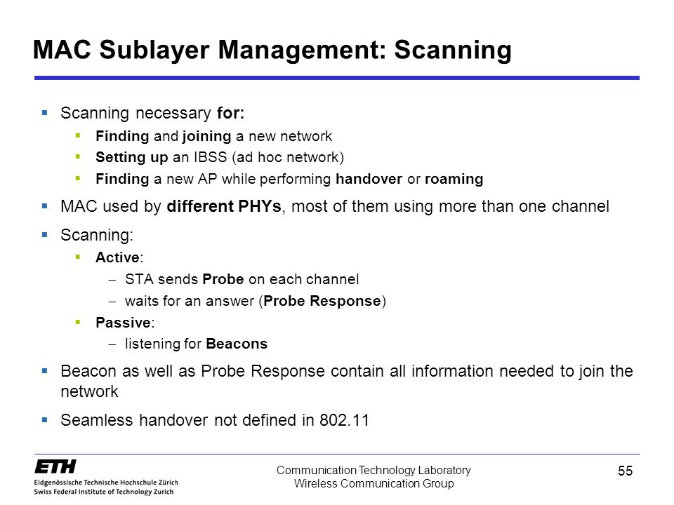 MAC Sublayer Management: Scanning