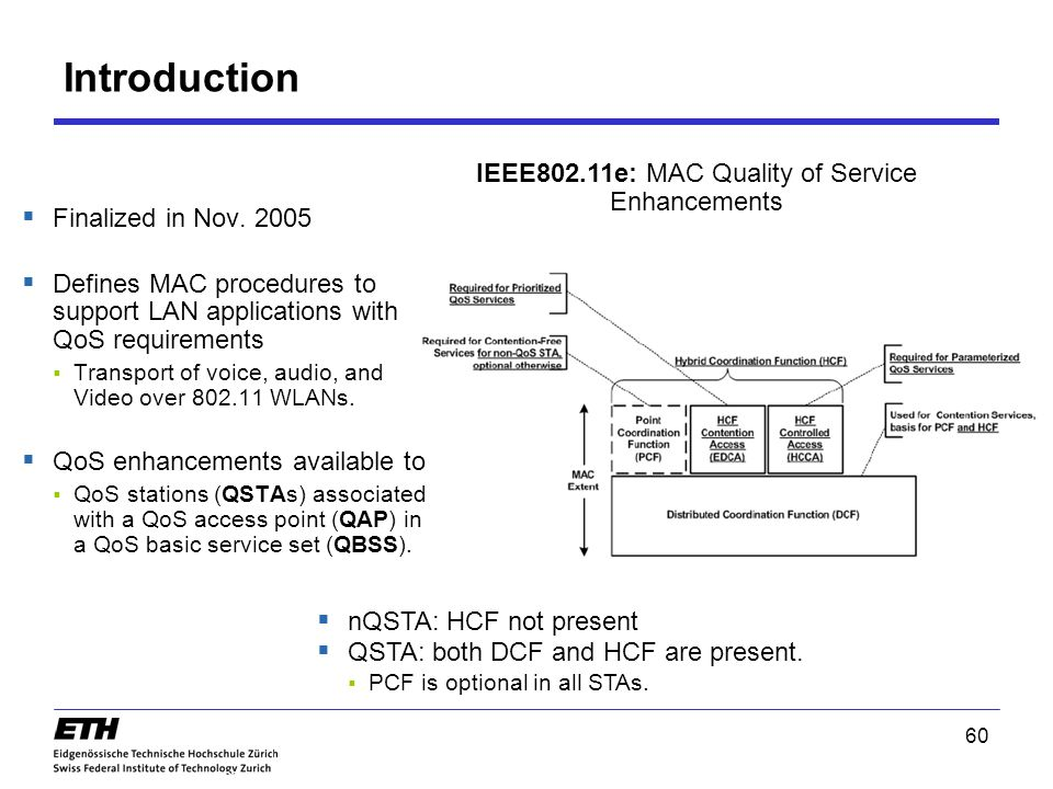 IEEE802.11e: MAC Quality of Service Enhancements