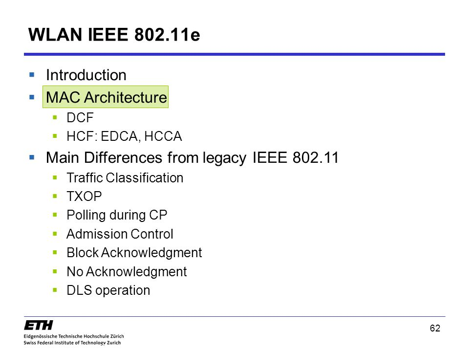 WLAN IEEE 802.11e Introduction MAC Architecture