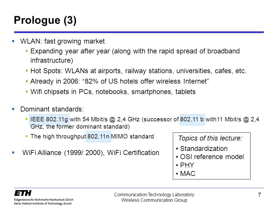 Prologue (3) WLAN: fast growing market