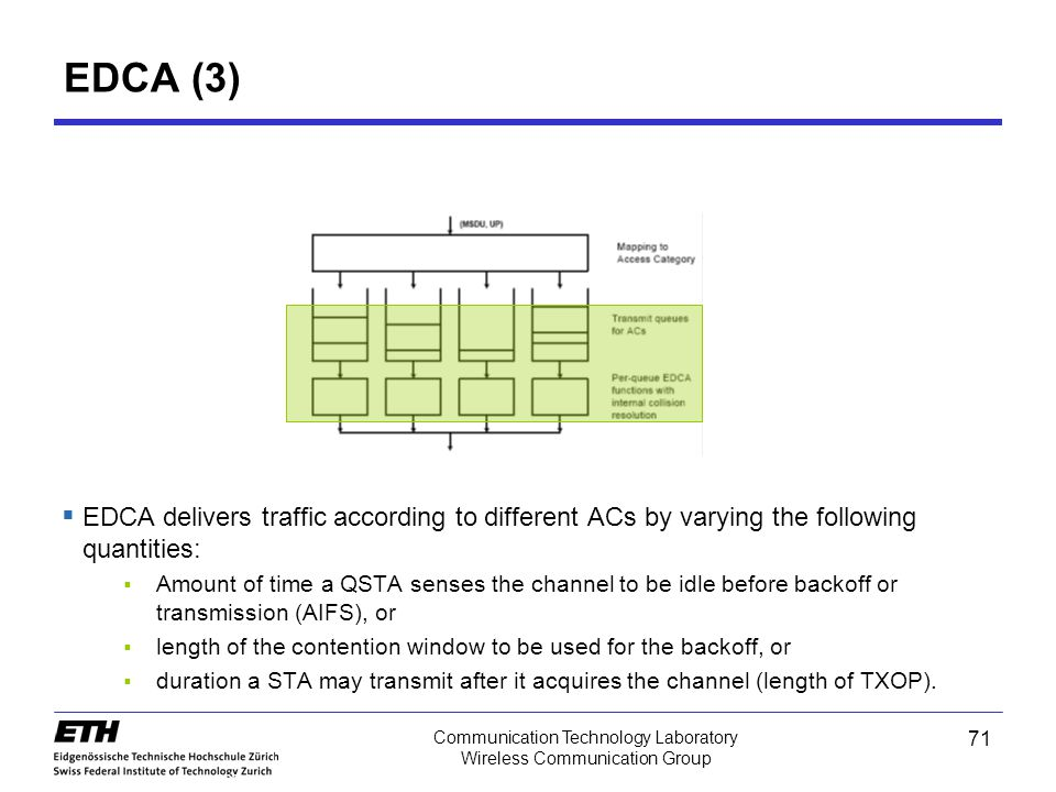 EDCA (3) EDCA delivers traffic according to different ACs by varying the following quantities: