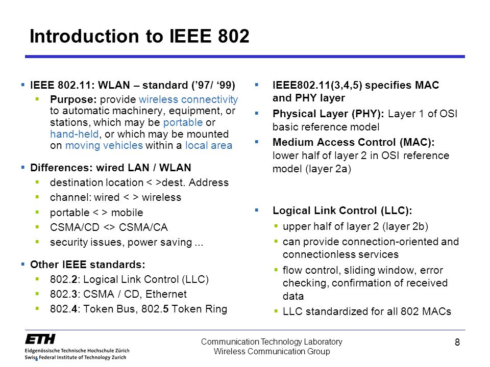 Introduction to IEEE 802 IEEE 802.11: WLAN – standard ('97/ '99)