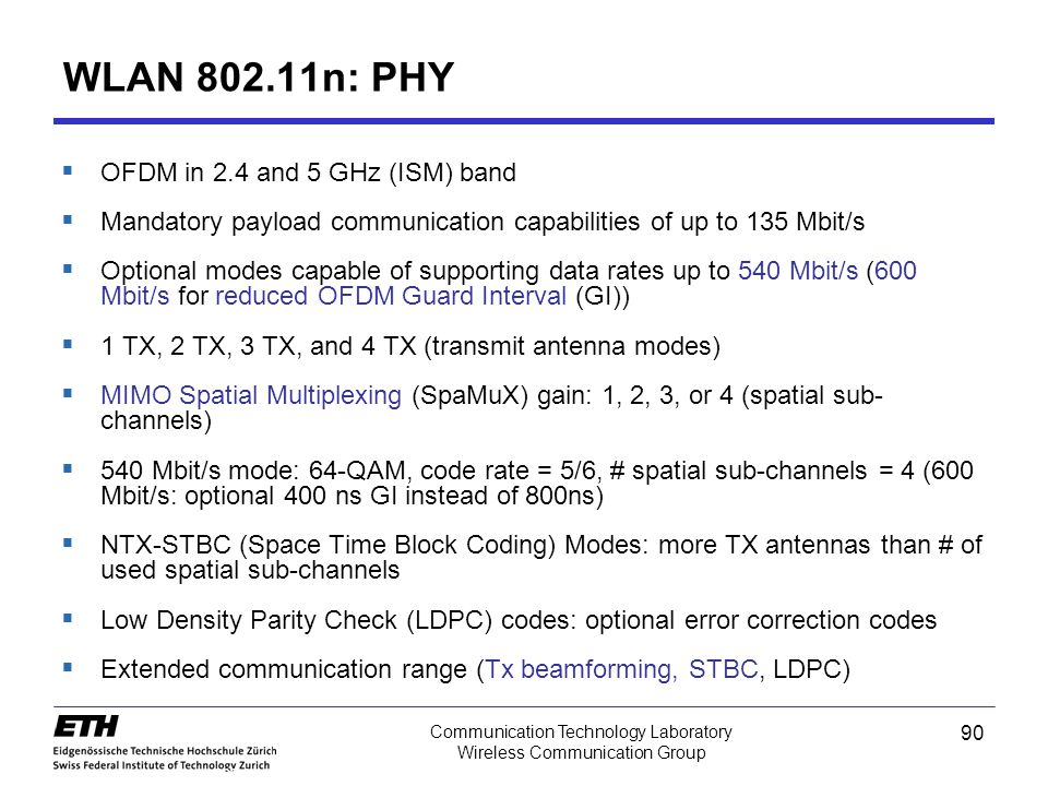 WLAN 802.11n: PHY OFDM in 2.4 and 5 GHz (ISM) band