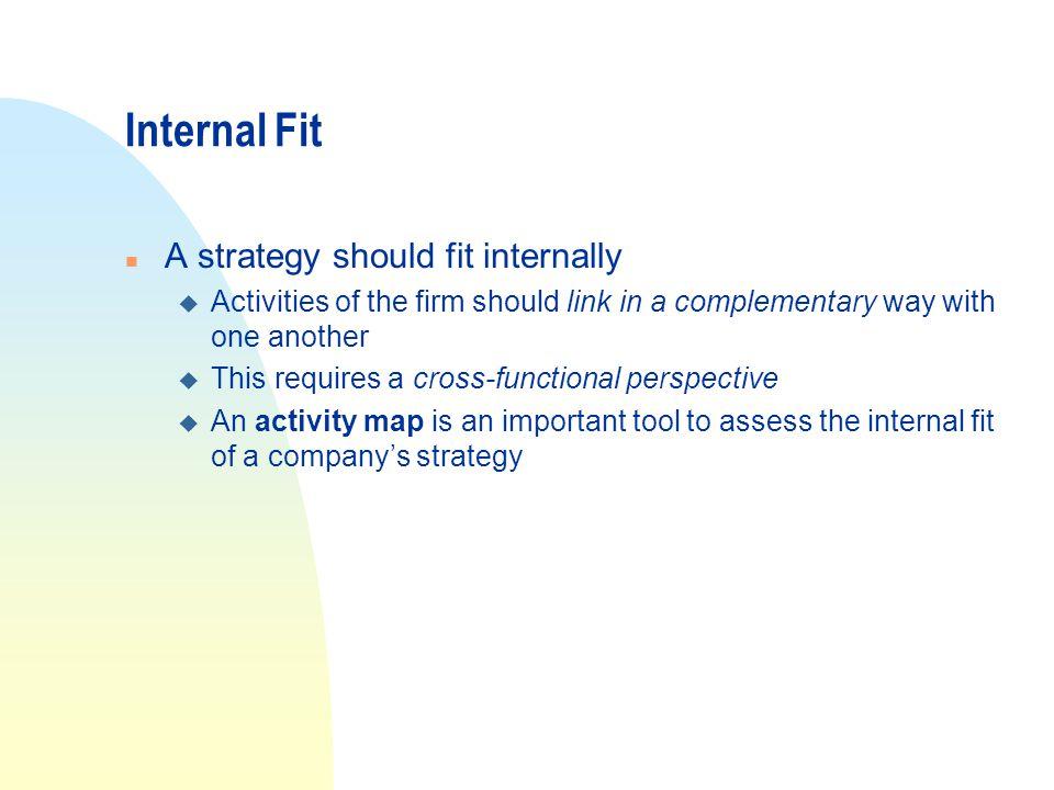 Internal Fit A strategy should fit internally