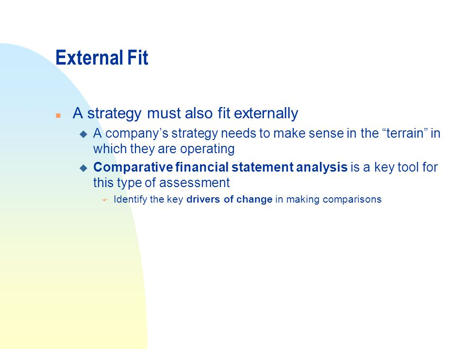 External Fit A strategy must also fit externally