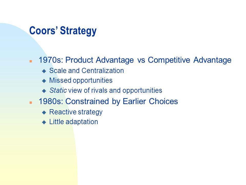Coors' Strategy 1970s: Product Advantage vs Competitive Advantage