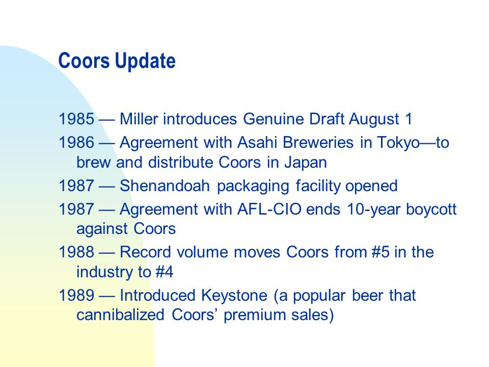Coors Update 1985 — Miller introduces Genuine Draft August 1
