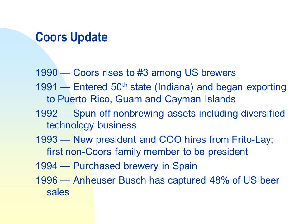 Coors Update 1990 — Coors rises to #3 among US brewers