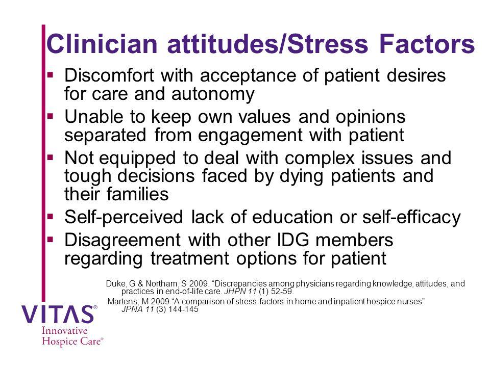 Clinician attitudes/Stress Factors