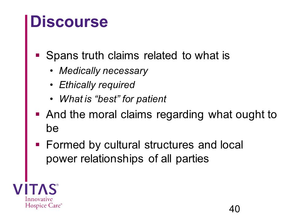 Discourse Spans truth claims related to what is