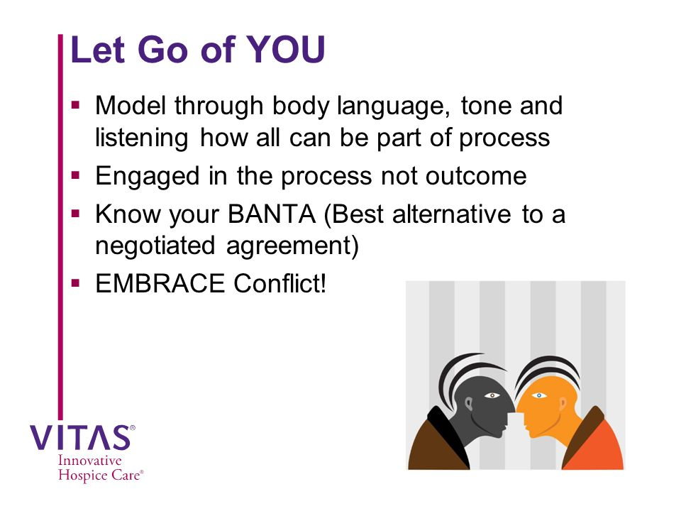 Let Go of YOU Model through body language, tone and listening how all can be part of process. Engaged in the process not outcome.