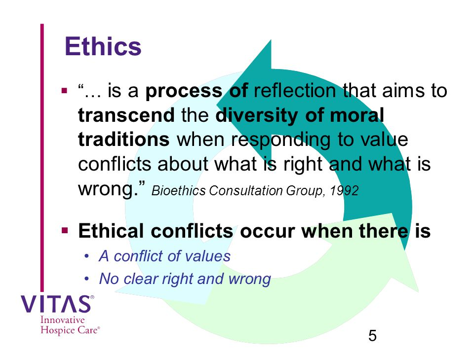 Ethics Ethical conflicts occur when there is