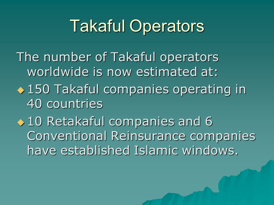 Takaful Operators The number of Takaful operators worldwide is now estimated at: 150 Takaful companies operating in 40 countries.