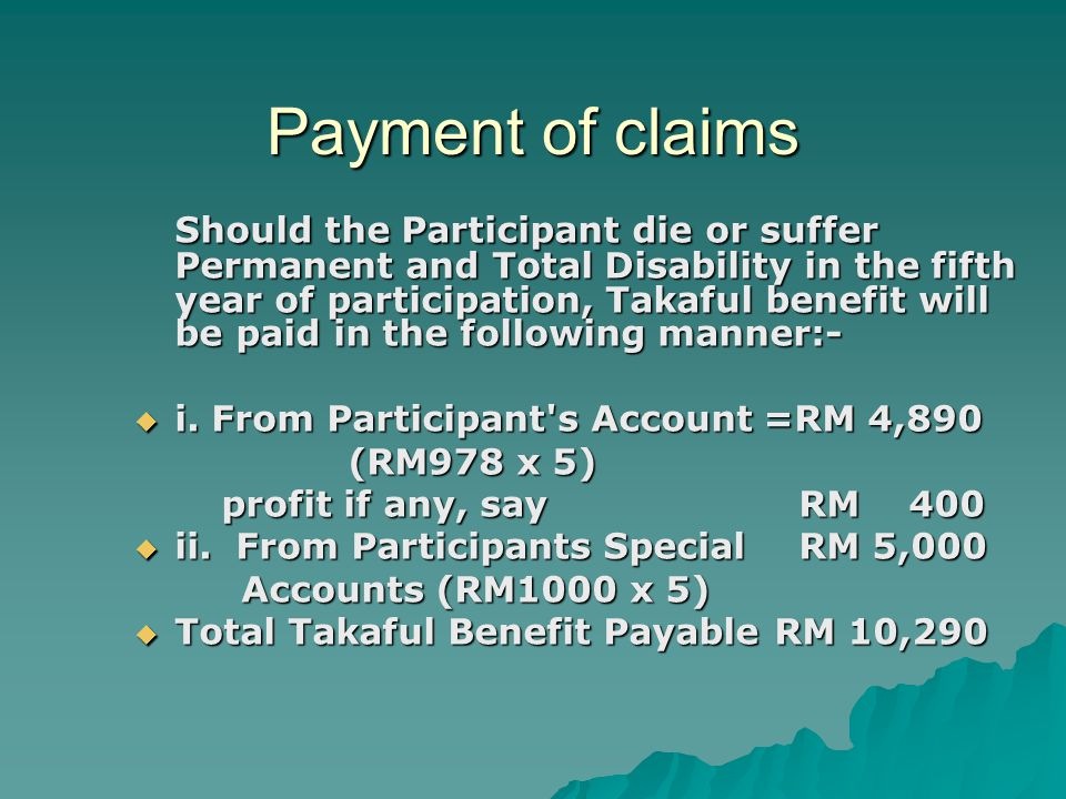 Payment of claims