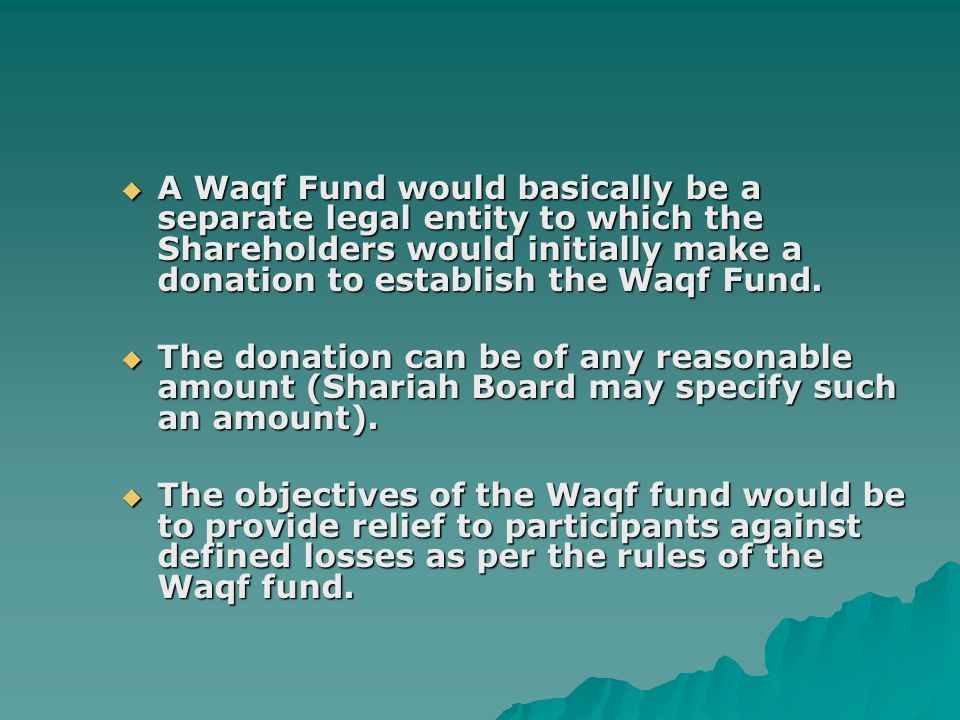 A Waqf Fund would basically be a separate legal entity to which the Shareholders would initially make a donation to establish the Waqf Fund.