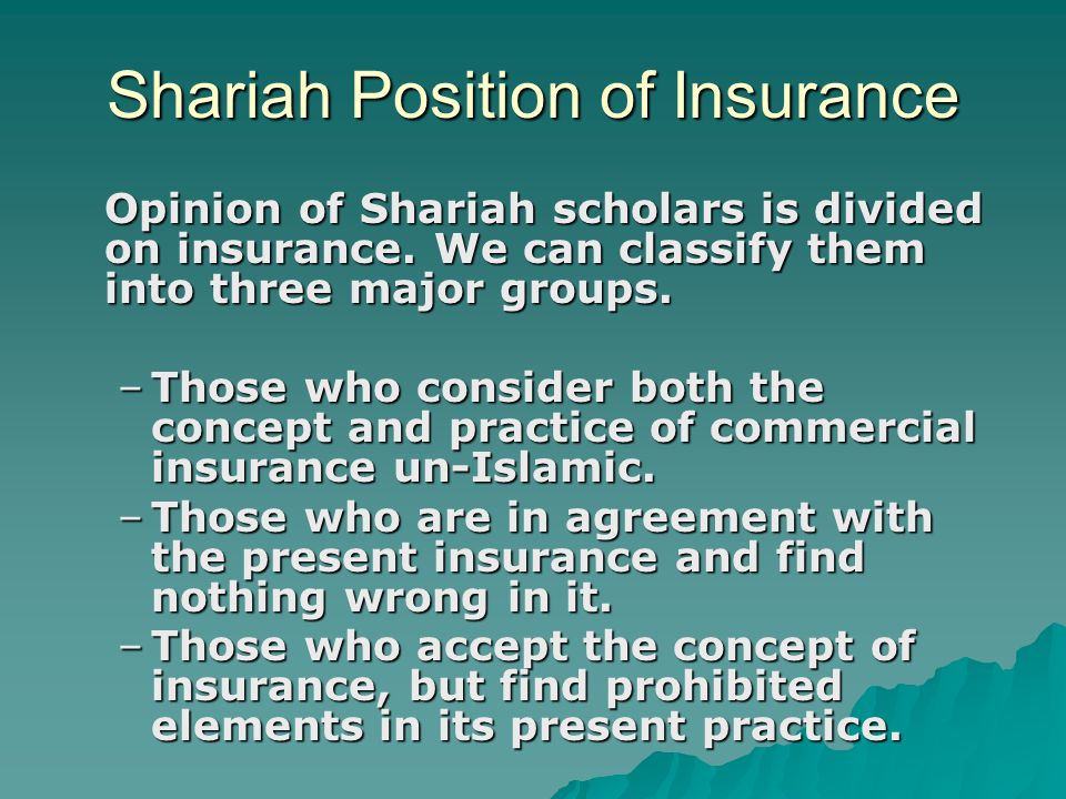 Shariah Position of Insurance