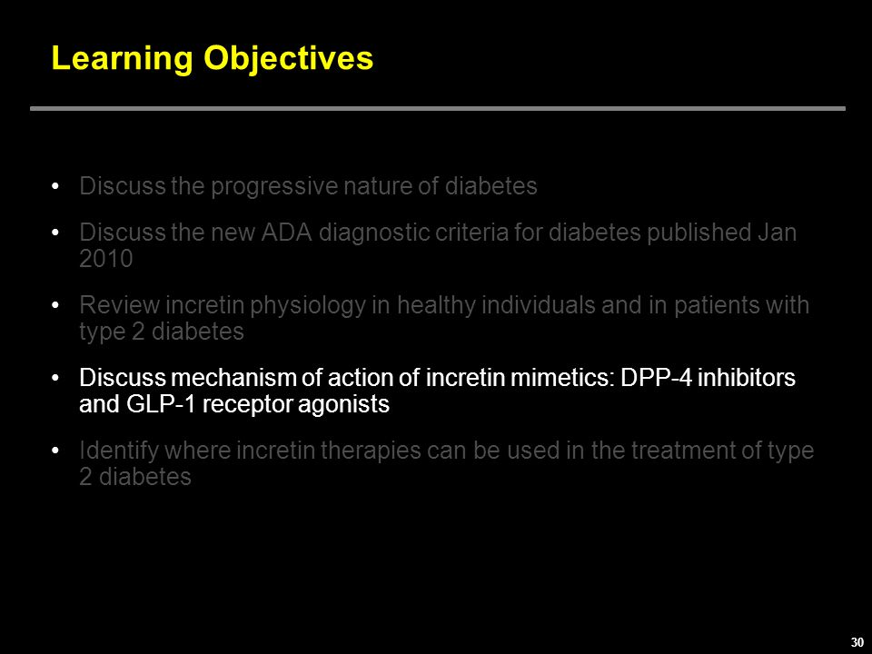 Learning Objectives Discuss the progressive nature of diabetes