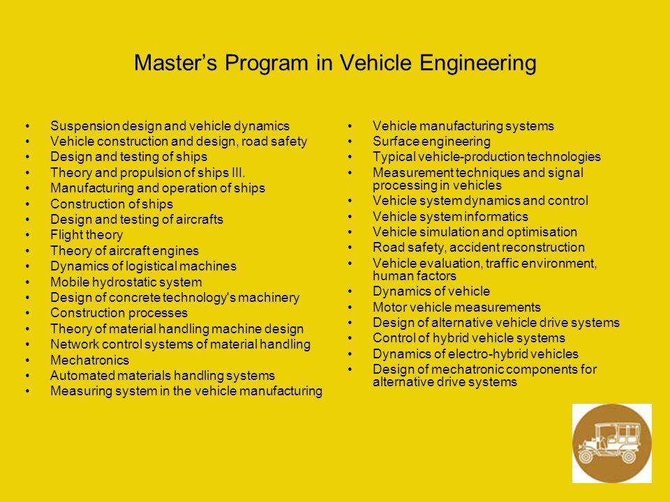 Master's Program in Vehicle Engineering