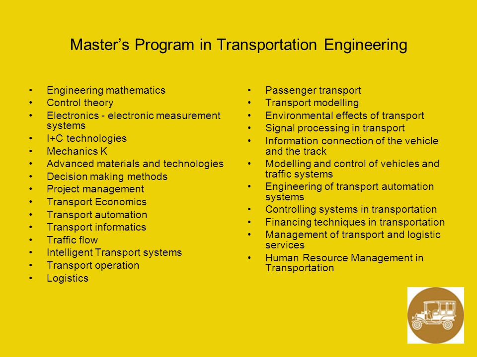 Master's Program in Transportation Engineering