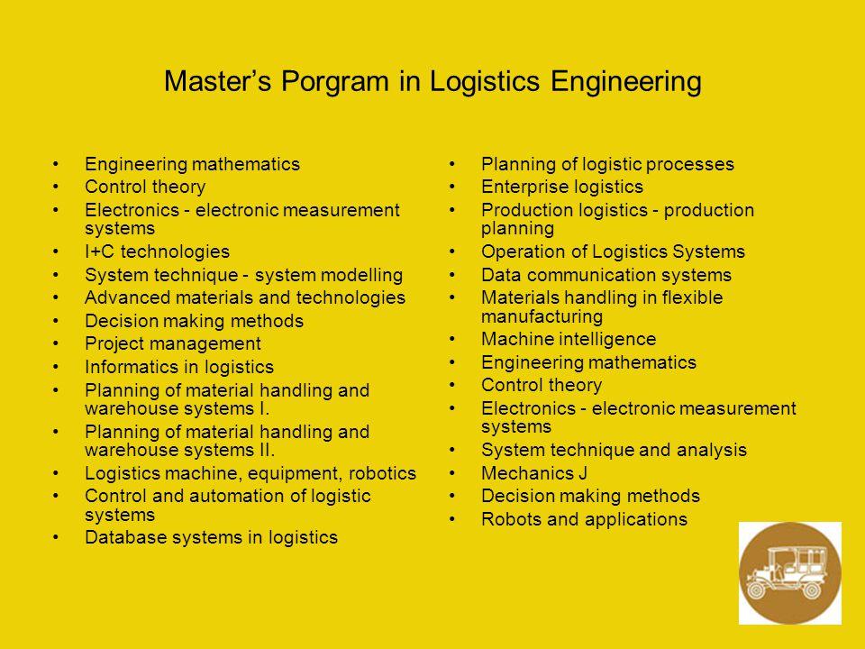 Master's Porgram in Logistics Engineering